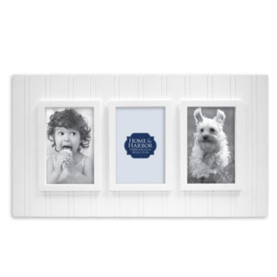 Wainscot 3-Opening Picture Frame in White