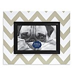 Chevron-Patterned Wood Picture Frame in Grey
