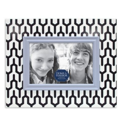 Patterned Wood Picture Frame in Blue