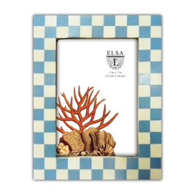 Elsa L Check Tiles Picture Frame in Blue/Ivory
