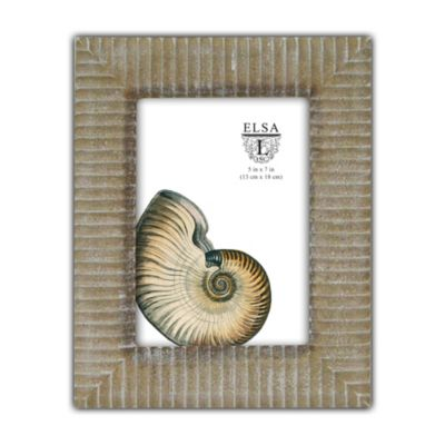Elsa L Carved Wood Picture Frame in Tan