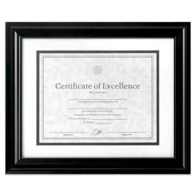 8.5-Inch x 11-Inch Matted Document Frame in High Gloss Black