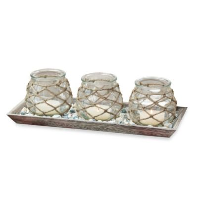 San Miguel Jute Covered Candle Holders with Decorative Tray Set