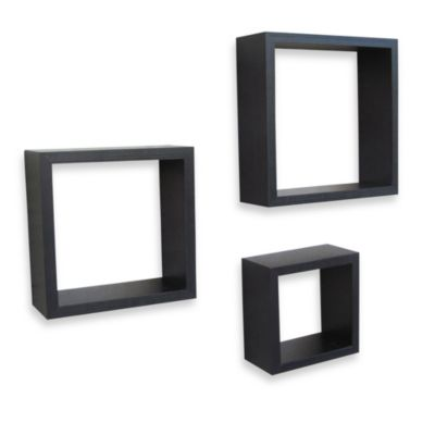 Square Wall Cubes in Dark Walnut (Set of 3)