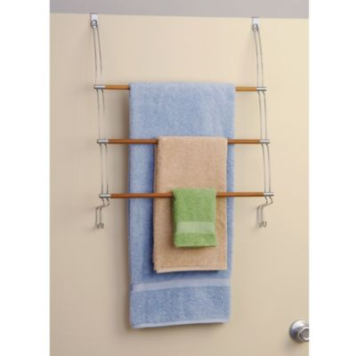 Over-the-Door Bamboo Towel Organizer