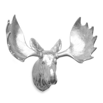 Resin Moose Head Wall Art in Silver