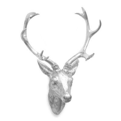 Resin Deer Head Wall Art in Silver