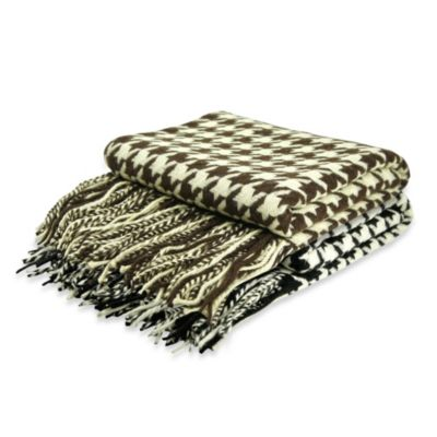 Pur Cashmere Houndstooth Throw in Chocolate/Cream