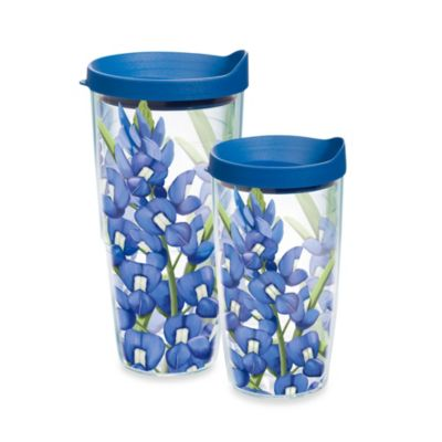 Tervis® Blue Floral 16-Ounce Tumbler with Blue Lid