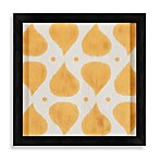 Ikat Shapes Shadowbox Wall Art in Peach and White