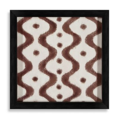 Ikat Shapes Shadowbox Wall Art in Brown and White