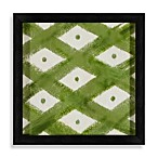 Ikat Shapes Shadowbox Wall Art in Green and White
