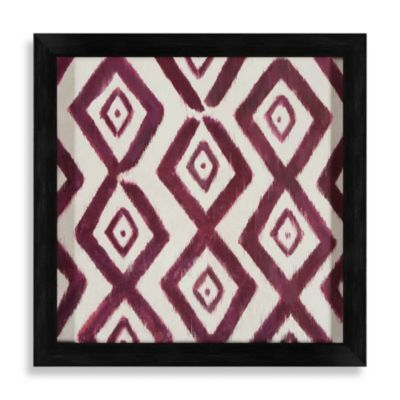 Ikat Shapes Shadowbox Wall Art in Maroon and White