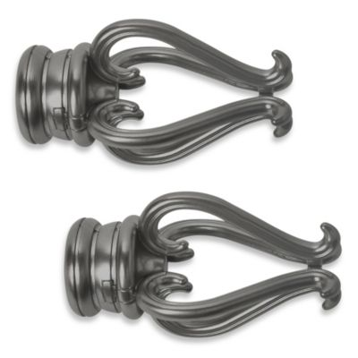 Cambria® Premier Complete Florentine Finial in Graphite (Set of 2)