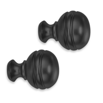 Cambria® Classic Complete Orbit Finial in Satin Black (Set of 2)