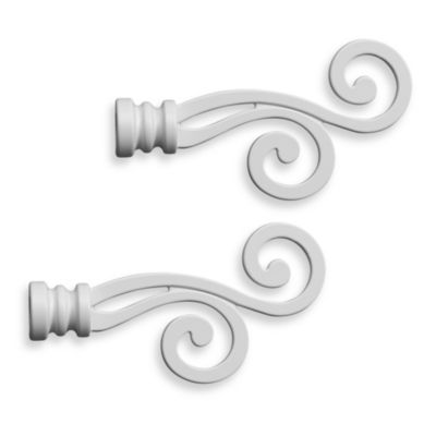 Cambria® Classic Complete Lariat Finial in Satin White (Set of 2)