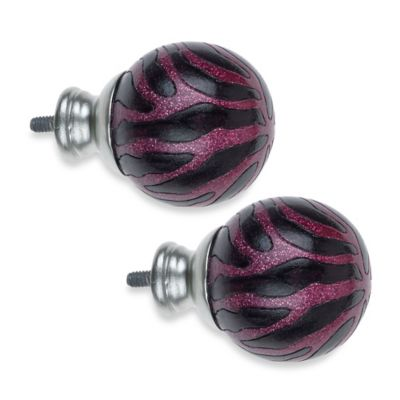 Cambria® My Room Zebra Finial in Magenta and Silver Glitter and Brushed Nickel (Set of 2)