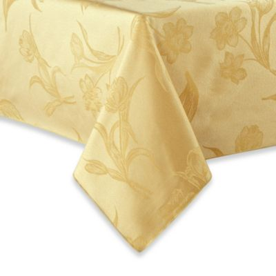 Pistachio Spring Blossoms Damask Tablecloth