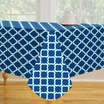 Lattice Vinyl 52-Inch x 70-Inch Oblong Tablecloth
