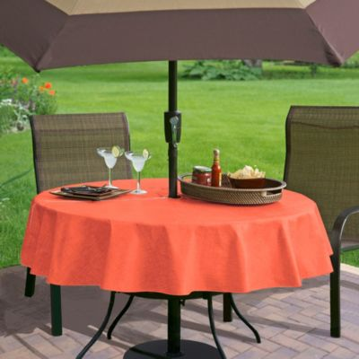 Monterey Vinyl 70-Inch Round Umbrella Tablecloth in Coral
