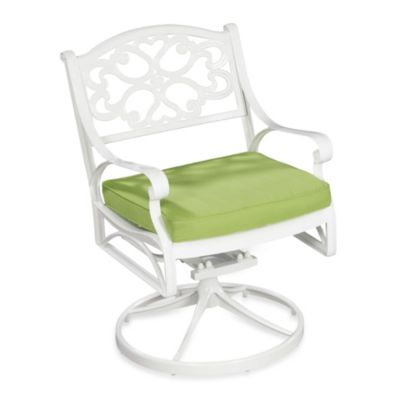 Home Styles Biscayne White Swivel Arm Chair with Green Cushion