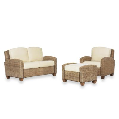 Home Styles Cabana Banana Chair, Ottoman and Love Seat Furniture Set in Honey