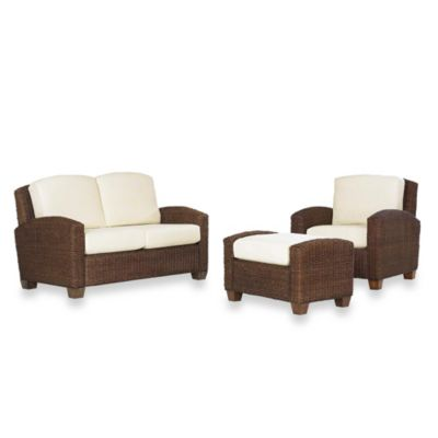 Home Styles Cabana Banana Chair, Ottoman and Love Seat Furniture Set in Cocoa