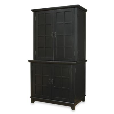 Home Styles Arts & Crafts Compact Computer Cabinet and Hutch in Black