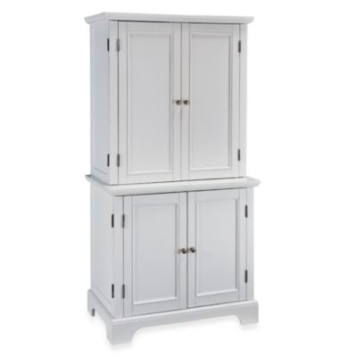 Home Styles Compact Computer Cabinet and Hutch in White
