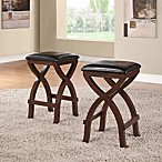 Verona Home Cross Base 24-Inch Counter Height Stools in Espresso (Set of 2)