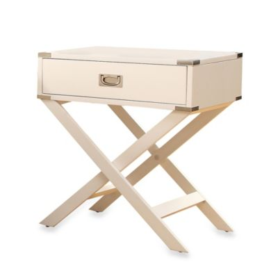 Verona Home One Drawer Accent Table/Cross Leg Nightstand in White