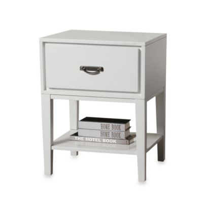 Verona Home One Drawer Accent Table/Straight Leg Night Stand in White