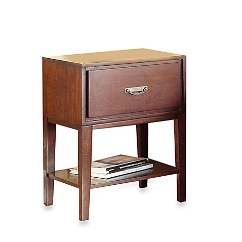 Verona Home One Drawer Accent Table/Straight Leg Nightstand in Espresso