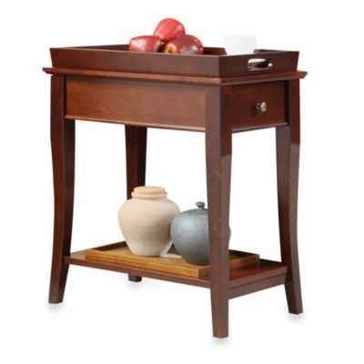 Verona Home One Drawer Accent Table with Serving Top in Cherry