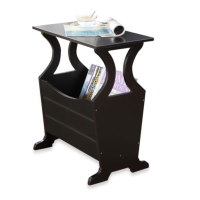 Verona Home Sleek Storage Magazine Rack in Black