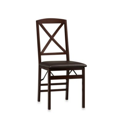 Linon Home Triena X Back Folding Chair in Espresso