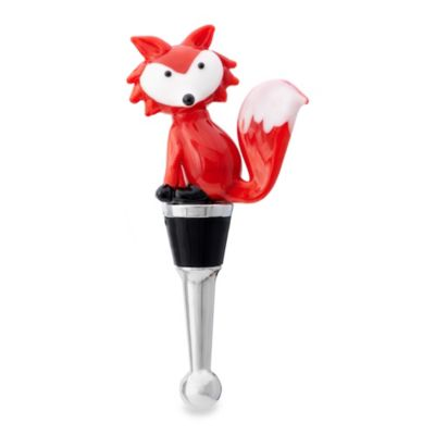 Glass Blown Red Fox Wine Bottle Stopper