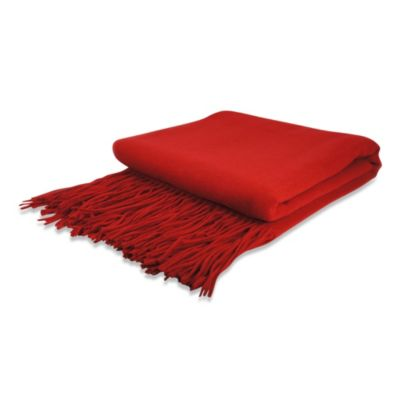 Pur Cashmere Signature Waterwave Throw in Red