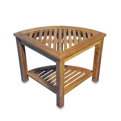 The Teak Round Corner Shelf or Shower Stool