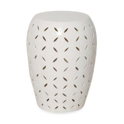 Emissary White Ceramic Lattice Stool