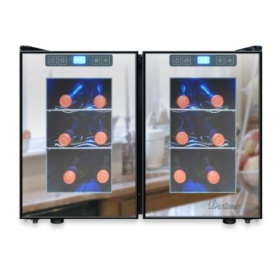 Vinotemp® 12 Bottle Touch Screen Mirrored Wine Cooler in Black/Silver