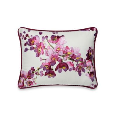 bluebellgray Cherry Blossom Pink Embroidered Oblong Toss Pillow
