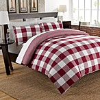 Cotton Chambray Reversible Duvet Cover Set in Red