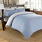 Cotton Chambray Reversible Duvet Cover Set in Blue