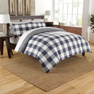 Cotton Chambray Reversible Duvet Cover Set in Navy