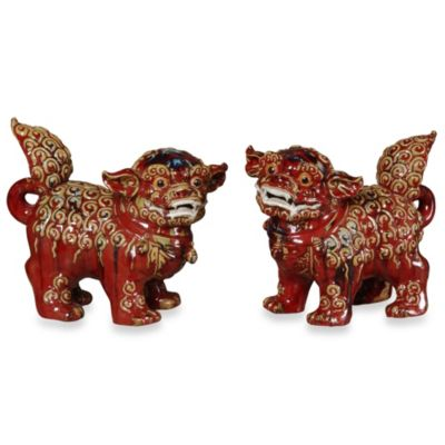 Emissary Foo Dogs Figurines in Red (Set of 2)