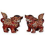 Foo Dogs Figurines in Red (Set of 2)