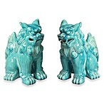 Foo Dogs Figurines in Turquoise (Set of 2)