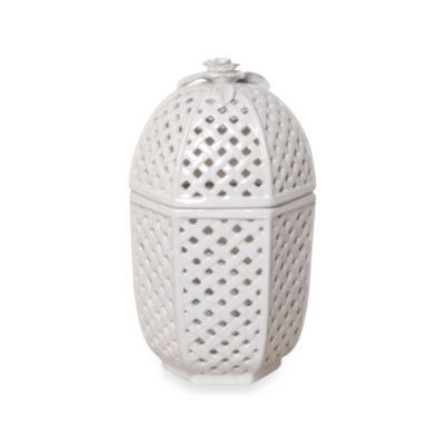 Emissary Ceramic Garden Trellis Container with Lid