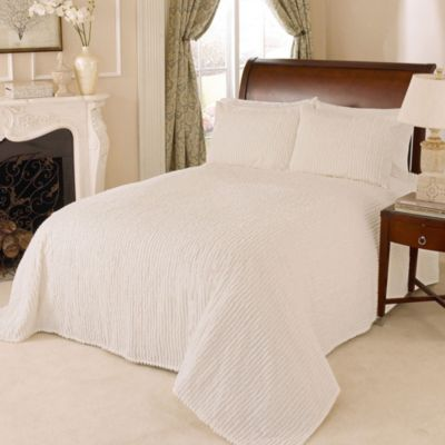 Channel Chenille Twin Bedspread in White